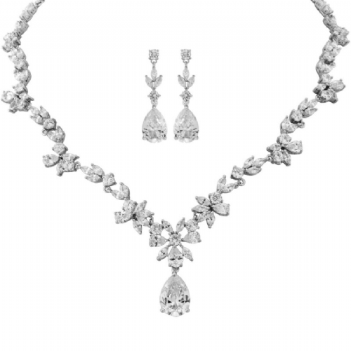 Cubic Zirconia bridal necklace set, crystal wedding necklace set